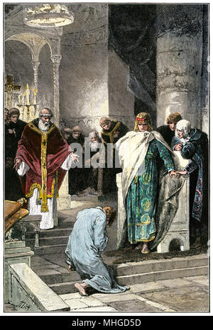 Holy Roman Emperor Otto I pardoning his brother Henry. Hand-colored woodcut - Stock Photo