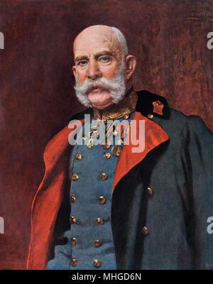 Franz Joseph I, Emperor of Austria. Printed color reproduction of an oil portrait - Stock Photo
