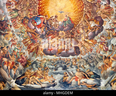 PARMA, ITALY - APRIL 16, 2018: Fresco of Holy Trinity and saints in the glory in cupola of Chiesa di Santa Maria del Quartiere - Stock Photo