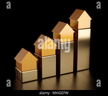 House golden bars chart graph. Growth in real estate. 3d rendering illustration - Stock Photo