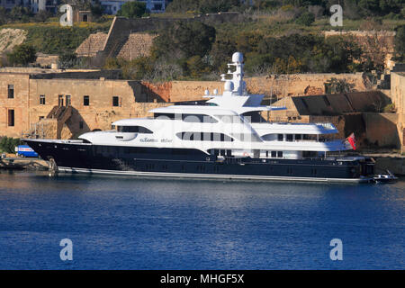 The 40-metre Lurssen superyacht Martha Ann at Marsamxett Harbour, Malta - Stock Photo