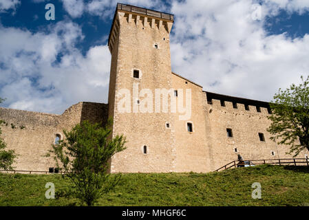 Palazzo Vescovile, museum and main square of the beautiful medieval city in the heart of the Umbria region, middle Italy. - Stock Photo