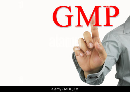 Hand of businessman point to the red GMP text isolated on white background for design in your work and have copy space. - Stock Photo