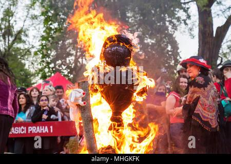 Prague, Czech Republic, April 30, 2018, Walpurgis night, traditional witch burning and spring welcoming ritual Credit: Markéta Bendová/Alamy Live News - Stock Photo