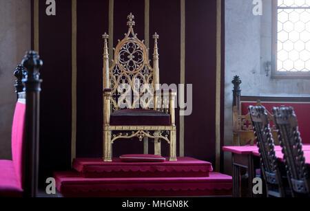 10 April 2018, Czech Republic, Prague: View inside the throne room of the Vladislav hall at the Prague Castle. Photo: Monika Skolimowska/dpa-Zentralbild/dpa - Stock Photo
