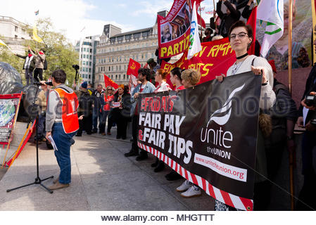 London, UK. 1st may 2018. Communists, socialists and trade unionists gather at Clerkenwell Green before their annual  International Workers Day march to Trafalgar Square ©2018 London, Great Britain. Dave Nash/Alamy Live News - Stock Photo
