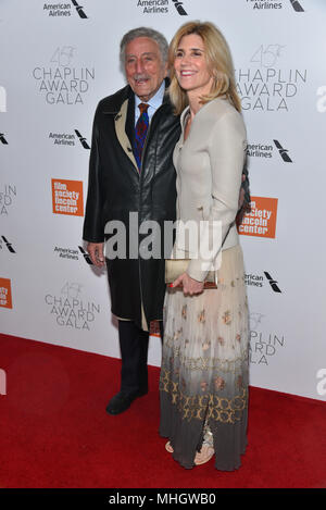 Tony Bennett and Susan Crow attends the 45th Chaplin Award Gala at Alice Tully Hall, Lincoln Center on April 30, 2018 in New York City. - Stock Photo