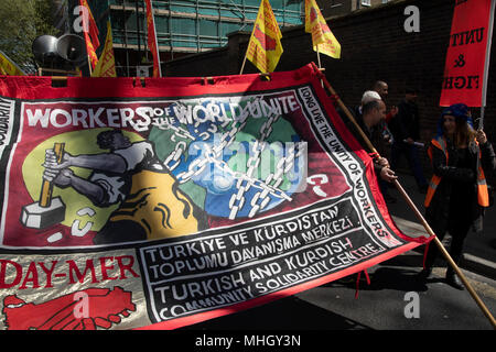 London, UK. 1st May, 2018. May Day celebrations in London, England, United Kingdom. Demonstration by unions and other organisations of workers to mark the annual May Day or Labour Day. Groups from all nationalities from around the World, living in London gathered to march to a rally in central London to mark the global workers day. Credit: Michael Kemp/Alamy Live News - Stock Photo