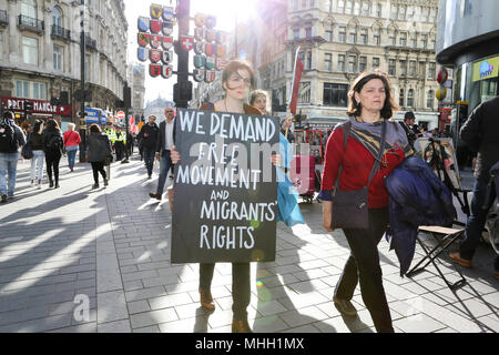 London, UK. 1st May, 2018. Precarious workers Bloc meet at the May Day rally and a series of direct actions across central London. Credit: Penelope Barritt/Alamy Live News - Stock Photo