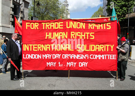London, UK. 1st May 2018. Banner at Mayday Credit: Alex Cavendish/Alamy Live News - Stock Photo
