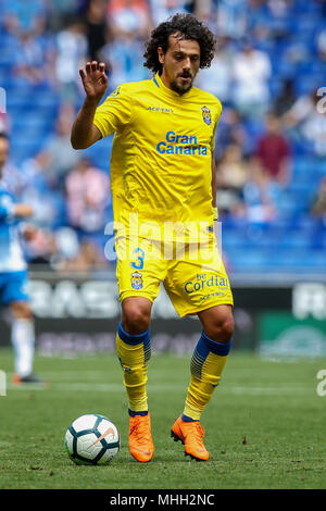 28th April 2018, Cornella-El Prat, Cornella de Llobregat, Barcelona, Spain; La Liga football, Espanyol versus Las Palmas; Aguirregaray of UD Las Palmas with the ball - Stock Photo