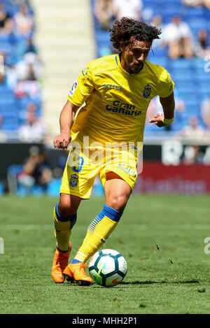 28th April 2018, Cornella-El Prat, Cornella de Llobregat, Barcelona, Spain; La Liga football, Espanyol versus Las Palmas; Aguirregaray of UD Las Palmas runs forward - Stock Photo