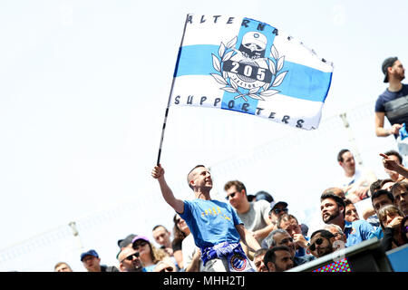 28th April 2018, Cornella-El Prat, Cornella de Llobregat, Barcelona, Spain; La Liga football, Espanyol versus Las Palmas; An Espanyol supporter waves his flag during the match - Stock Photo