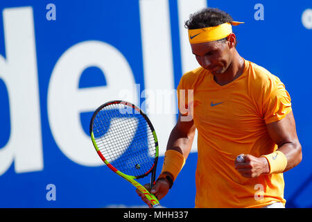 Real Club de Tennis, Barcelona, Spain. 26th Apr, 2018. Banc Sabadell Barcelona Open Tennis tournament; Rafael Nadal during his match in round 3 Credit: Action Plus Sports/Alamy Live News - Stock Photo