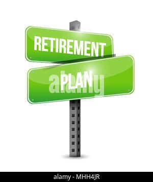 Retirement plan sign. Vector illustration design over white background. - Stock Photo