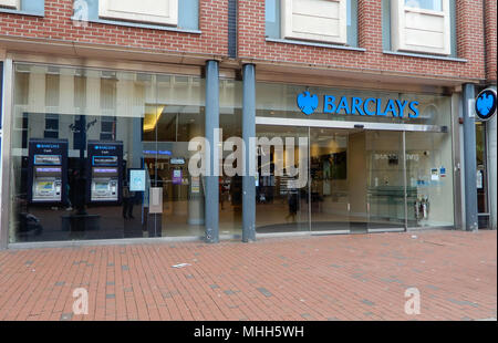 Reading, United Kingdom - April 26 2018:   The front of Barclays Bank on Broad Street - Stock Photo
