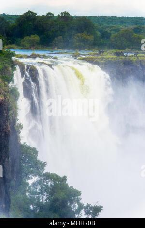 Victoria Falls, Zambezi River, Zimbabwe and Zambia - Stock Photo