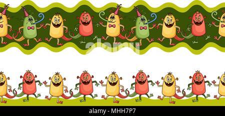 Cartoon Monsters Seamless - Stock Photo