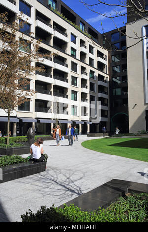 Apartments, offices, and retail in the new Rathbone Square, in Fitzrovia, in central London W1, England, UK - Stock Photo