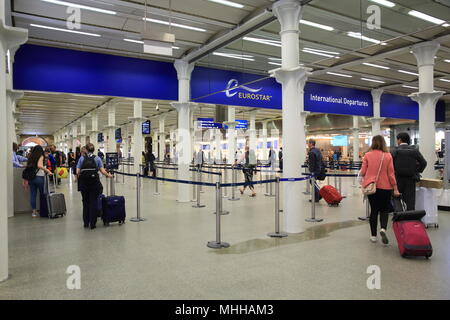 The check-in area for Eurostar trains to Europe at St Pancras International  station, in London, UK - Stock Photo