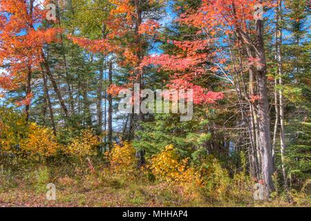 Boulder Lake in Autumn north of Duluth, Minnesota - Stock Photo