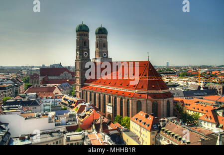 Aerial view to Frauenkirche church Munich, Germany - Stock Photo
