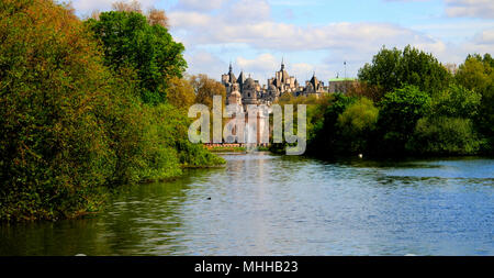 Summer view to St James's Park and The Household Cavalry Museum in London, UK - Stock Photo