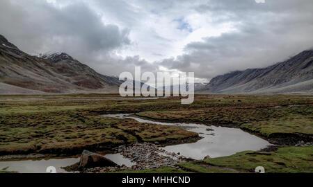 Panorama of Yasin river and Valley, Gilgit-Baltistan Province, Pakistan - Stock Photo