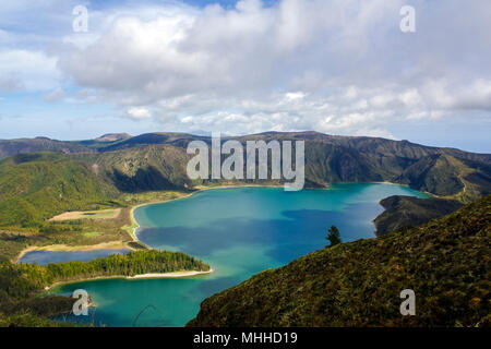 Stunning landscape with lagoon in volcanic crater in volcanic Island. Lagoa do fogo, Azores - Stock Photo