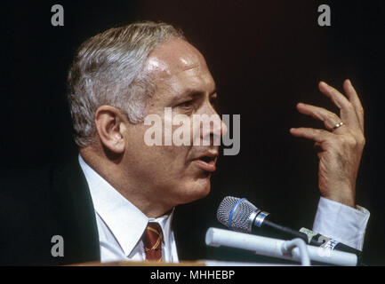 Washington, DC. USA, 14th May, 1998 Israeli Prime Minister Benjamin Netanyahu during an address to the Washington Institute for Near East Policy. Benjamin 'Bibi' Netanyahu is the current Prime Minister of Israel. He also currently serves as a member of the Knesset and Chairman of the Likud party. Born in Tel Aviv to secular Jewish parents, Netanyahu is the first Israeli prime minister born in Israel after the establishment of the state. - Stock Photo