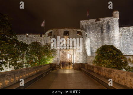 The Pile Gate (or West Gate) night view of Dubrovnik, Croatia. - Stock Photo