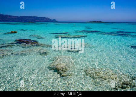 Turquoise Water of Elafonisi Beach - Stock Photo