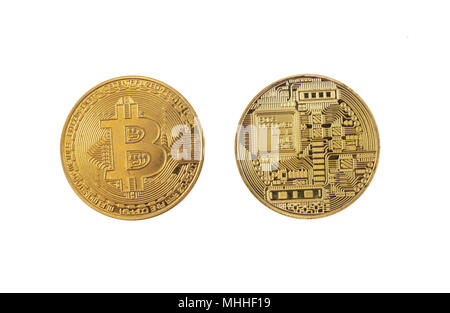 Bitcoin, cryptocurrency isolated on white background, top view - Stock Photo