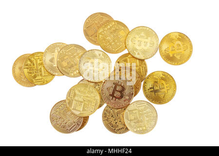 Bitcoins heap, cryptocurrency isolated on white background, top view - Stock Photo