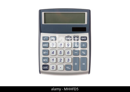 Calculator with blank screen isolated on white background, top view - Stock Photo