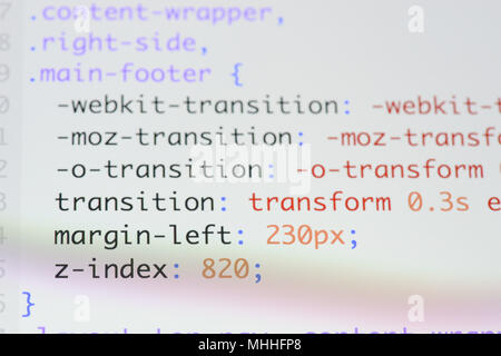 Real css code developing screen. Programing workflow abstract algorithm concept. Lines of css code visible. - Stock Photo