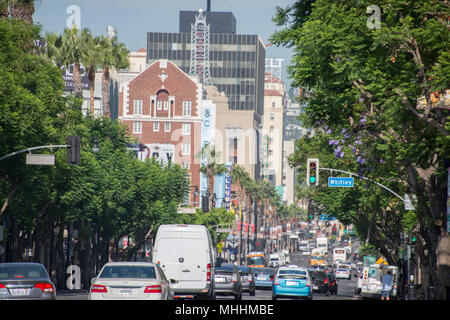 LOS ANGELES, USA - AUGUST 1, 2014 - heavy traffic on  LA Hollywood Walk of Fame - Stock Photo