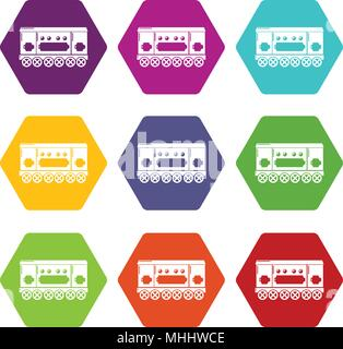 Compartment carriage icons set 9 vector - Stock Photo