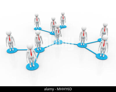 3d rendering business network concept, social networking concept - Stock Photo