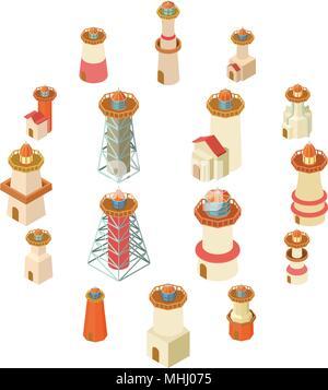 Lighthouse icons set, isometric style - Stock Photo