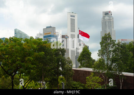 18.04.2018, Singapore, Republic of Singapore, Asia - Singapore's skyscrapers of the Central Business District around Raffles Place. - Stock Photo