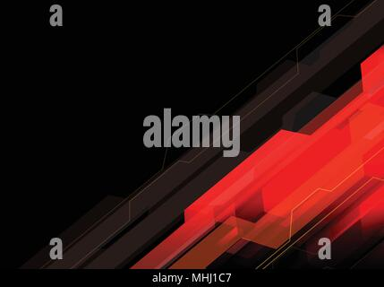 Abstract red light polygon technology on black design modern futuristic background vector illustration. - Stock Photo