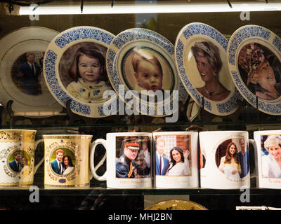 Royal Wedding 2018, Memorabilia, Shop Window, Windsor, Berkshire, England, UK, GB. - Stock Photo