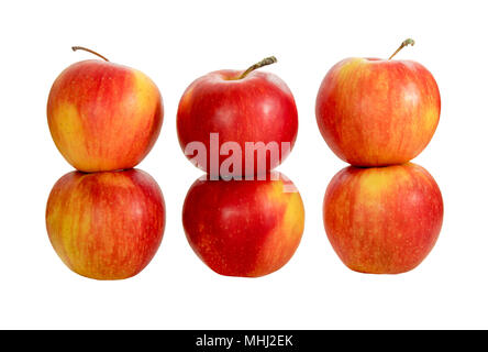 picture ripe red apples on a white background - Stock Photo