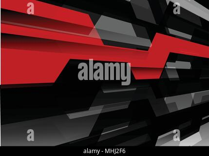 Abstract red black polygon technology futuristic on gray background vector illustration. - Stock Photo