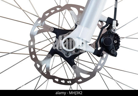 Hydraulic front disc brake on mountain bike. Isolated on a white background. - Stock Photo