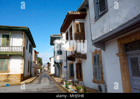 Old and recently renovated houses in the Arabahmet District, North Nicosia / Lefkosa / Lefkosia, Turkish Republic of Northern Cyprus - Stock Photo