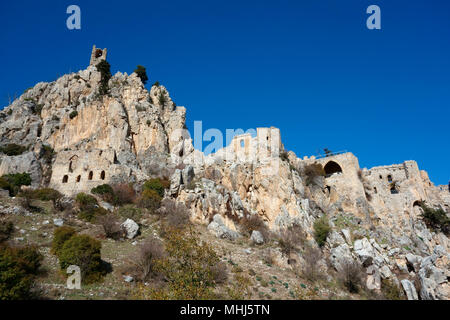 Half-ruined St Hilarion Castle near Kyrenia (Girne), Turkish Republic of Northern Cyprus - Stock Photo
