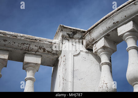 Parapet in antique style. Classical architecture. White parapet. - Stock Photo