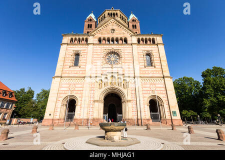 Speyer, Germany. West facade of the Imperial Cathedral Basilica of the Assumption and Saint Stephen. A World Heritage Site since 1981 and largest roma - Stock Photo